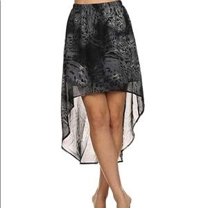 Gray Leopard Print High Low Hem Skirt